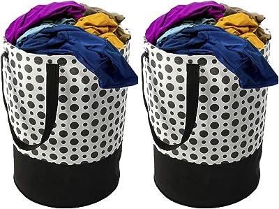 Kuber Industries Polka Dots Printed 2 Pieces Waterproof Canvas Laundry Bag, Toy Storage, Laundry Basket Organizer 45 L (Black & White), Standard (CTKTC044994)