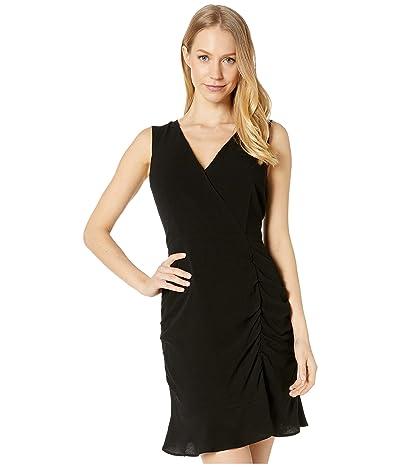 BB Dakota Ruched Behavior Rayon Crepe Cross Front Dress with Scrunched Skirt (Black) Women