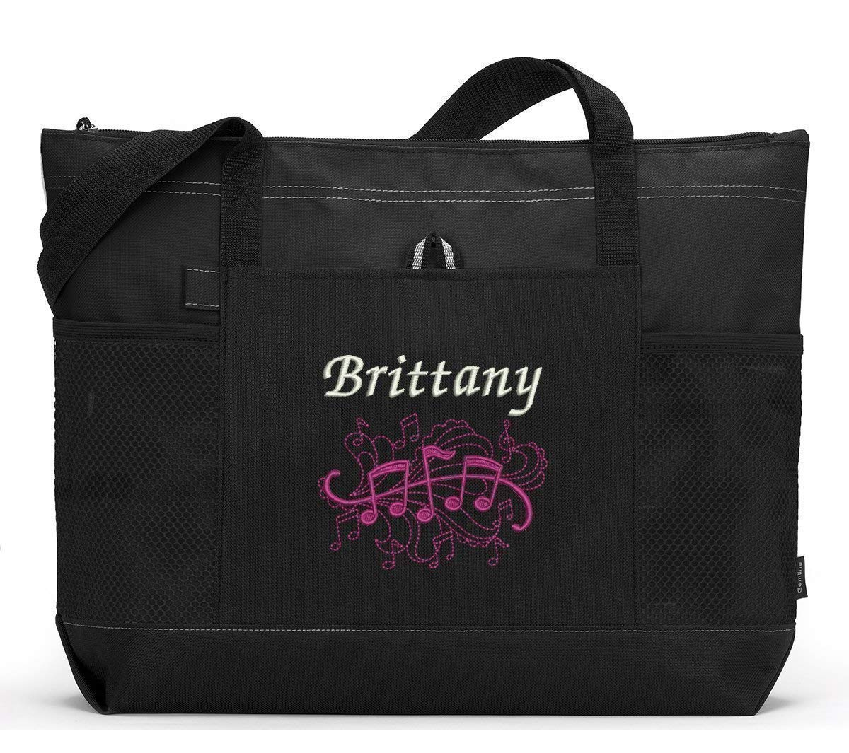 Music Notes Personalized 2021 model Embroidered Pockets Tote Mesh famous with