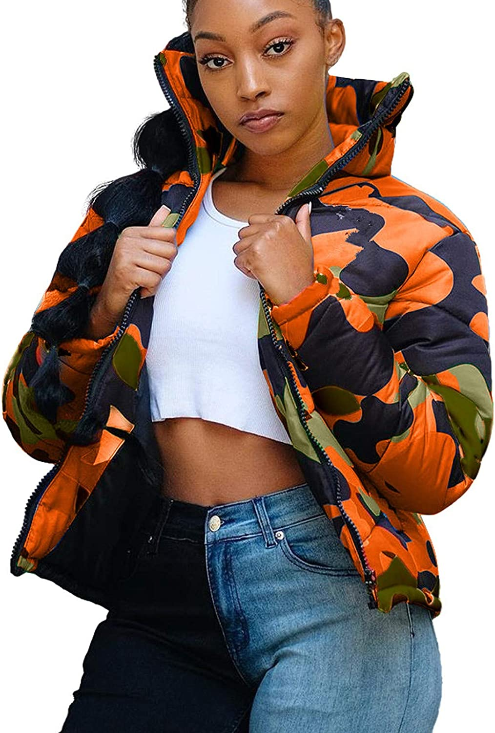 Unisex Camouflage Print Coats Long Sleeve Glossy Camouflage Bread Down Jacket Zipper Pockets Outerwear URIBAKE