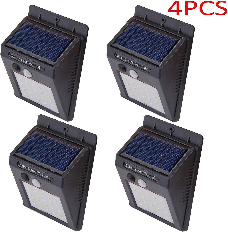 St@llion Solarbetriebene Wand-Sicherheitsleuchte mit PIR-Bewegungssensor, 20 LEDs, Schwarz, 4 Stück