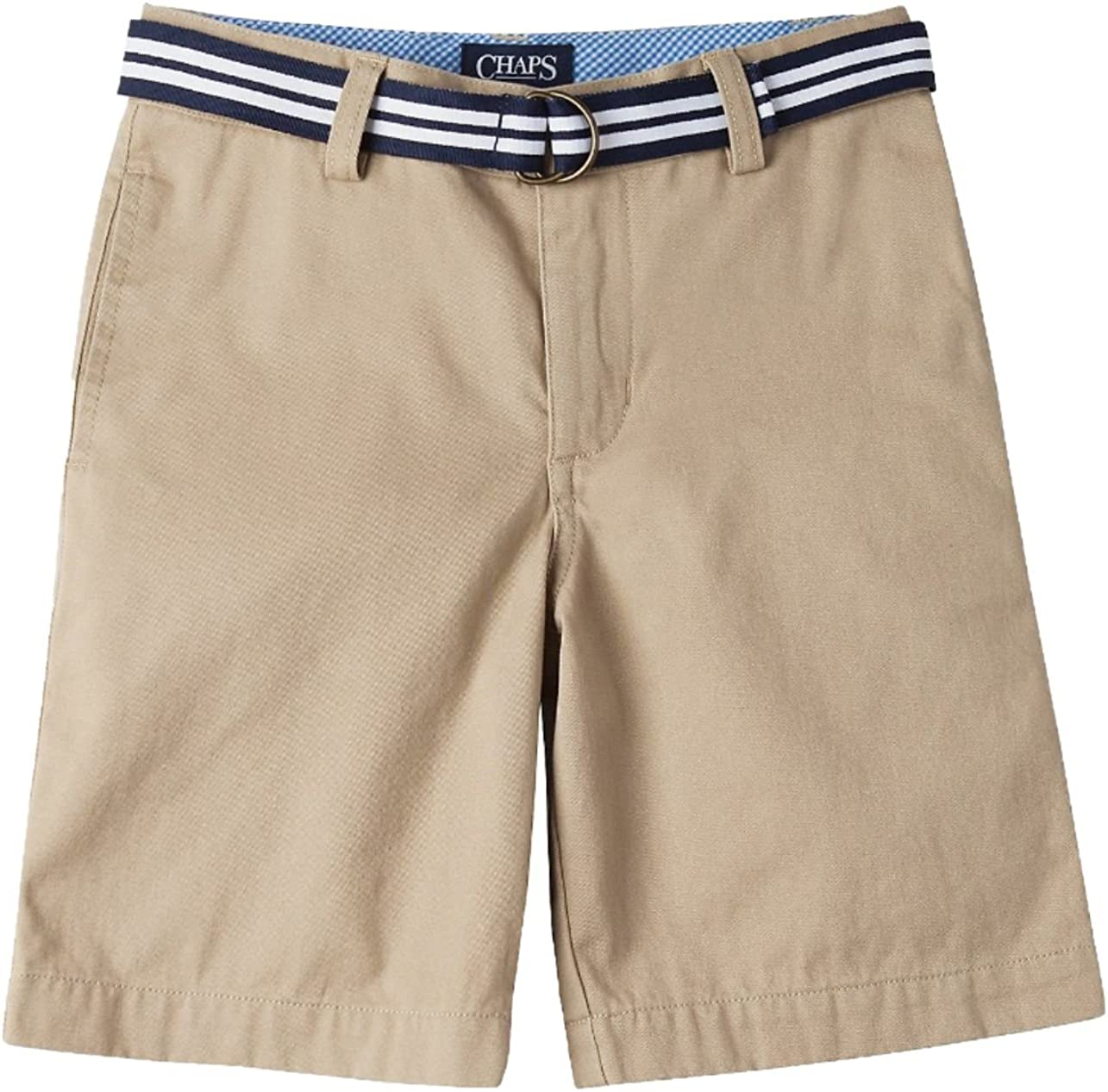 Chaps Boys' Chino Flat Front Belted Shorts