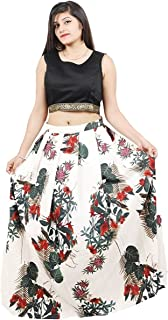 5c2b5f7428f Modern Style Women's Bhagalpuri Printed Lehenga Choli (Free Size_Black & Off  White)