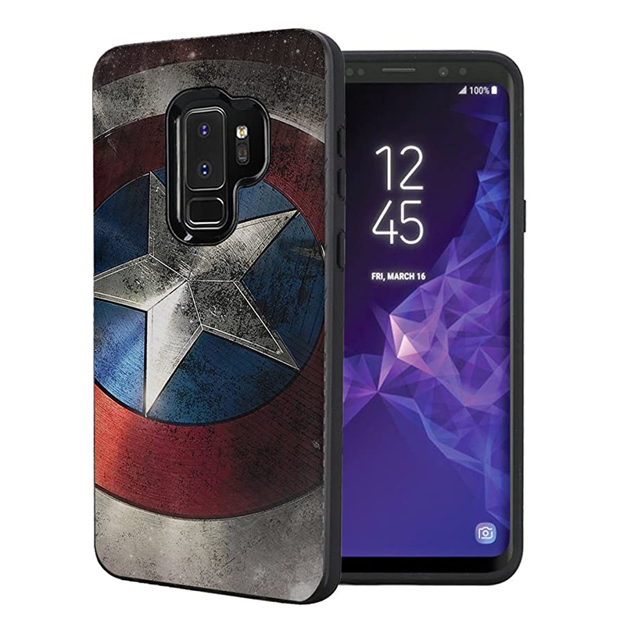 Capsule Case Compatible with Samsung Galaxy S9 Plus [Embossed Diagonal Lines Hybrid Dual Layer Slim Armor Black Case] for Samsung Galaxy S9+ Plus - (Rock Star)