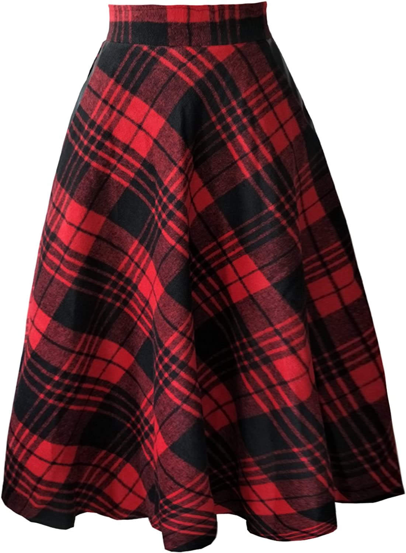 Emondora Women's Wool Woolen High Waist ALine Flared Vintage Midi Skirt