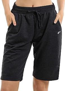 EZRUN Women's Lounge Bermuda Shorts Workout Activewear Gym Jogger Yoga Sweat Shorts with Pockets