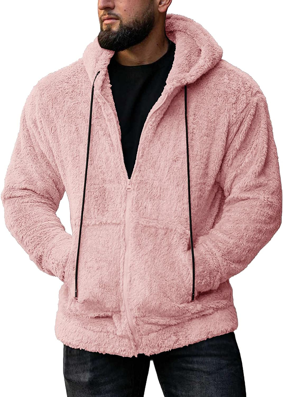 Mens Fuzzy Sherpa Jacket Hooded Fleece Cozy Cardigans Long Sleeve Full Zip Hoodies Thermal Coat Fall Winter Outwear