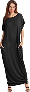 Women's Short Sleeve Casual Loose Long Maxi Dress with Pockets