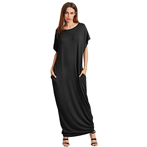 7eee0236cdc Verdusa Women s Short Sleeve Casual Loose Long Maxi Dress with Pockets