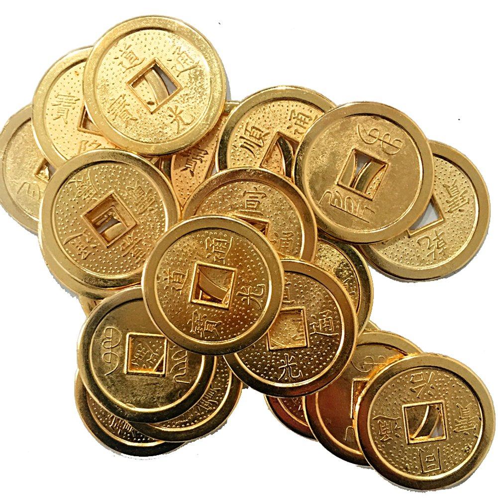 20 piezas fortuna monedas chinas Feng Shui de oro + bolsa de regalo de moneda Y1046: Amazon.es: Hogar