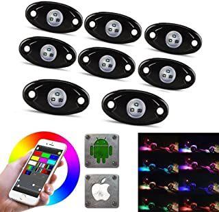 LED Rock Light Kits with 6/8 Pods RGB Lights for for Trucks, Jeeps, SUV, ATV - Offroad, Crawling, Climbing Waterproof, SoundSync, Bluetooth App Controls Lamp Waterproof (8 pod FBA)