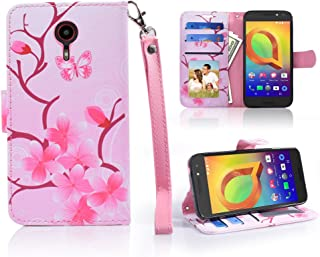 For ZTE Uhura ULTRA Quest Legacy N817 Case Designed Wallet Phone Case Grip Textured Kickstand Hybrid Purse Screen Flip Cover (CHERRY PINK)