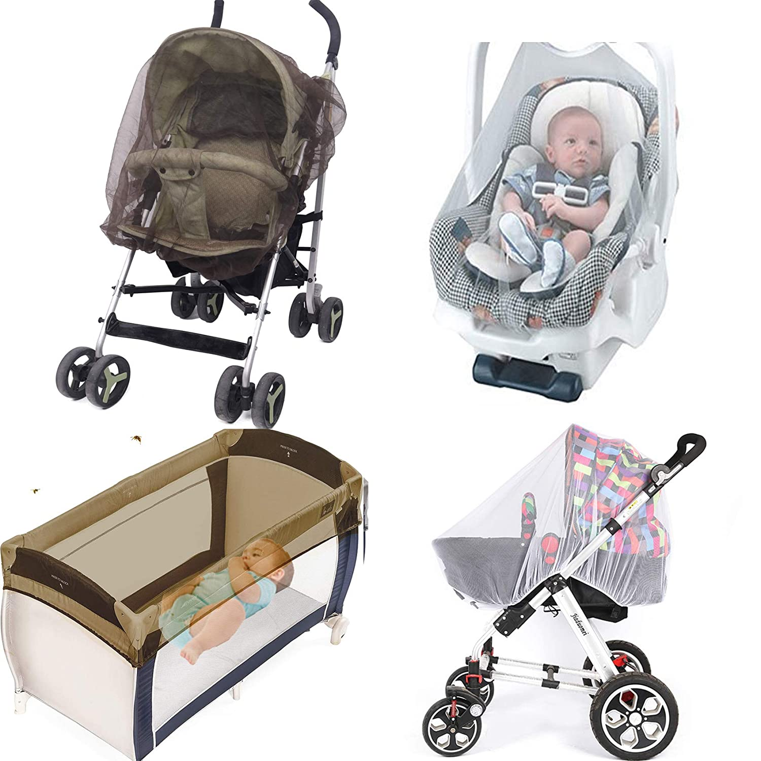 No-See-Um Mesh Mosquito Net for Baby Strollers, Car Seats, Bassinets, Cradles, Playards, Breathable no Harmful Chemicals Available in Grey or Coffee Color(Brown)