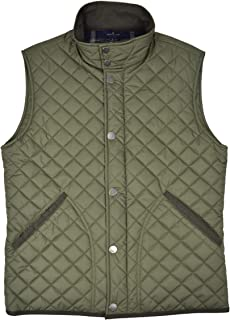 Brooks Brothers Mens Thermore Insulated Diamond Quilted Sleeveless Jacket Vest Coat Army Green