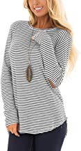 Blooming Jelly Womens Long Sleeve T Shirts Striped Crew Neck Elbow Patch Casual Tee Tops