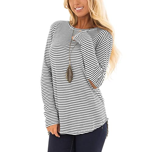 966d1d681a7 Blooming Jelly Womens Black and White Striped T Shirts Long Sleeve Elbow  Patch Crew Neck Casual