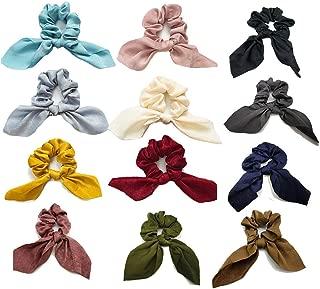 12 Pack Bow Scrunchies for Hair Soft Satin Silk Hair Ties Scrunchy Elegant Elastic Hair Cute Scrunchies 12 Solid Colors for Women Girl