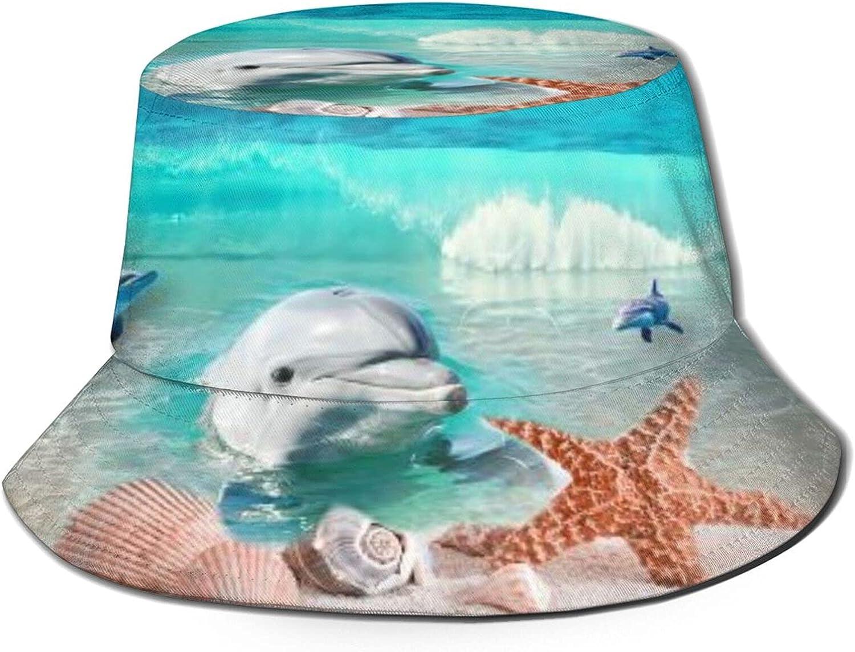 Shells Dolphin 55% Oakland Mall OFF Starfish Bucket Hat Summer Packabl Sun Unisex