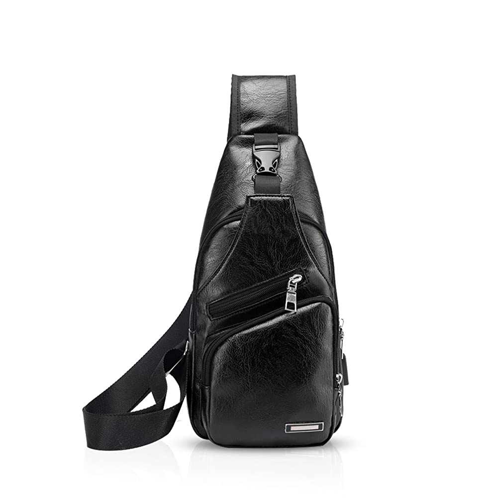 ちらつきラダクラスFANDARE ボディバッグ メンズ 撥水加工 軽量 USB充電ポート付属 斜め掛けバッグ 軽量 ワンショルダー イヤホン穴付き 人気 通勤 通学 旅行 カジュアル PUレザー 黒