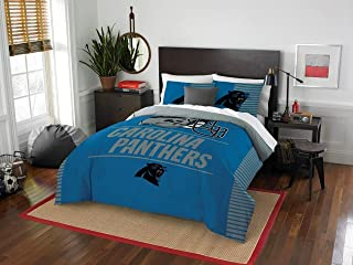 Carolina Panthers - 3 Piece FULL / QUEEN Size Printed Comforter Set - Entire Set Includes: 1 Full / Queen Comforter (86