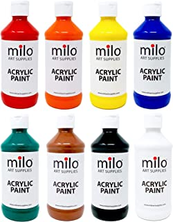 MILO Acrylic Paint Set of 8 Colors 8 oz (237 ml) Bottles | Artist Student Acrylics Fluid Painting Art Set | Made in USA