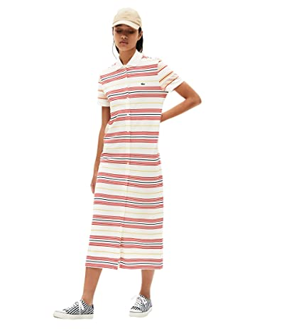 Lacoste Short Sleeve Stripe Button Through Pique Maxi Dress (Flour/Corrida/Daba/Methyl) Women