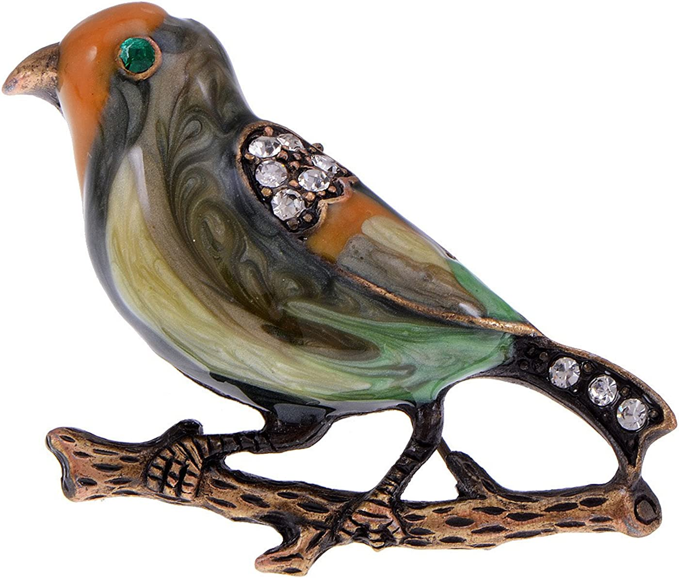 Alilang Antique Golden Clear Crystal Colored Rhinestones Multi Bird Sparrow Brooch Pin