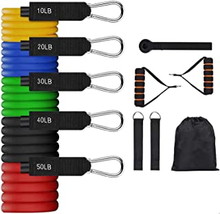 Resistance Bands Set 11PCS, Exercise Bands with Handles for Men & Women, 5 Stackable Resistance Workout Bands with Door An...