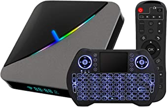 Android TV Box 9.0 4GB 64GB Smart TV Box Amlogic S905X3 with Backlit Wireless Mini Keyboard USB 3.0 Ultra HD 4K 8K HDR Dua...