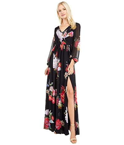 Adrianna Papell Long Sleeve Chiffon Shirred Gown Women