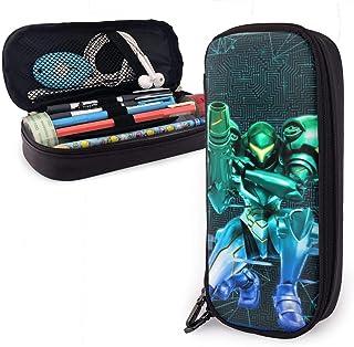 KsimYa Metroid: Samus Returns Leather Zipper Pen Case Pencil Box Pencil Case for Girls