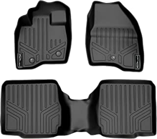 SMARTLINER Custom Fit Floor Mats 2 Row Liner Set Black for 2017-2019 Ford Explorer with 2nd Row Center Console