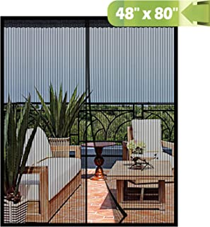 Magnetic Screen Door 48x80 Inch,Heavy Duty Mesh Curtain with Full Frame Hook and Loop Keep Bugs Out