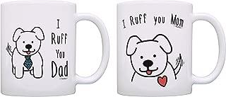 Dog Owner Gifts I Ruff You Mom & I Ruff You Dad Dog Lovers Gifts Dog Parent Gifts Dog Parents Mug Sets 2 Pack Gift Coffee Mugs Tea Cups Dog Mom & Dad