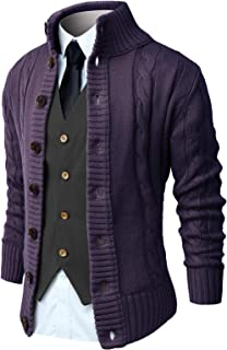Sponsored Ad - NITAGUT Mens Long Sleeve Stand Collar Cardigan Sweaters Button Down Cable Knitted Sweater