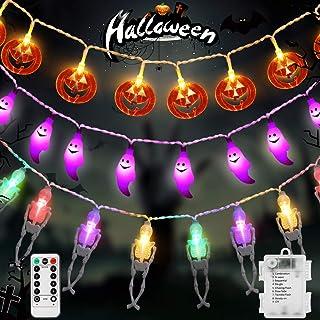 Litake Halloween String Lights ,Battery Operated Waterproof Pumpkin String Lights, Ghost String Lights,Skeleton Lights for...