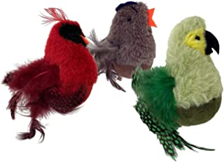 PetSport 3 Pack of Feathered Kitty Wobbler Cat Toys, 3.5 Inch, Assorted Designs