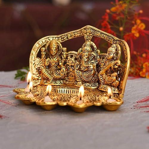 Gadgets Appliances Laxmi Ganesh Saraswati Idol Diya Oil Lamp Deepak Metal Lakshmi Ganesha Showpiece Statue Traditional Diya for Diwali Puja Home Decoration Items Gifts Set of 1