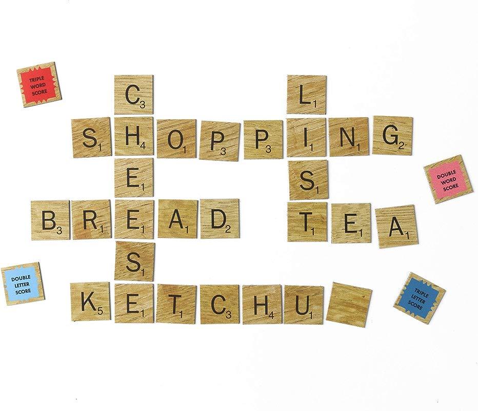 SCRABBLE 112 Count Vintage Wood Letter And Word Score Tiles Refrigerator Magnet Set
