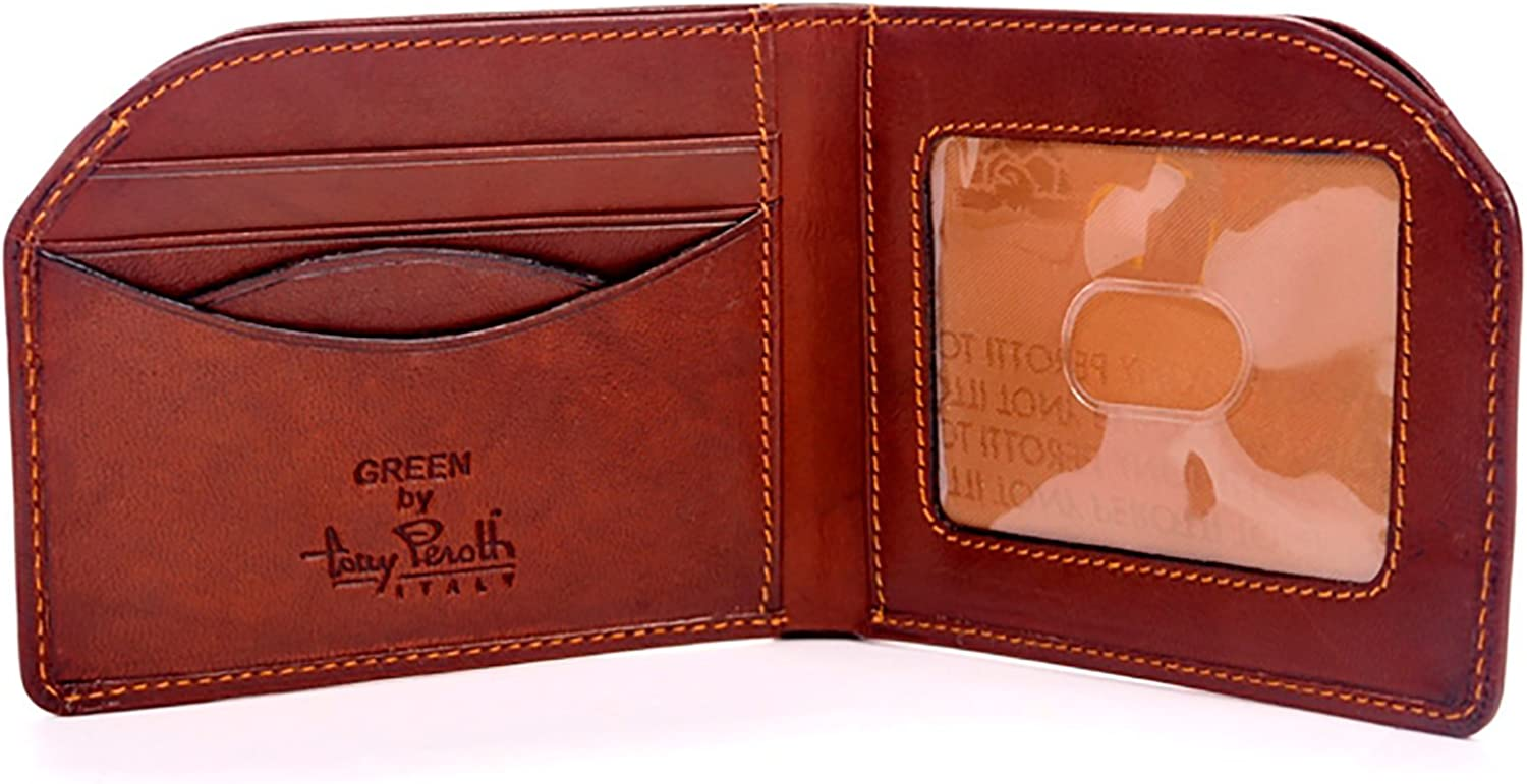 Tony Perotti Mens Italian Cow Leather Slim Front Pocket Bifold Edge Wallet in Brown