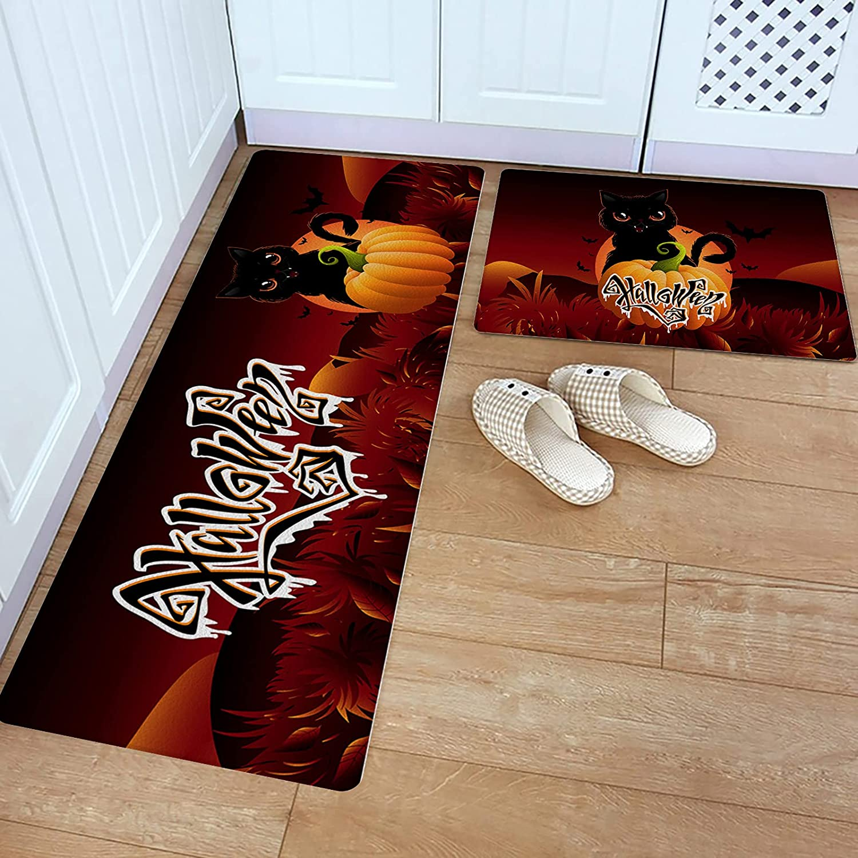 Kitchen Rug Set Max 61% OFF Quantity limited 2 Piece PVC Floor Happy Leather Halloween Mat Cu