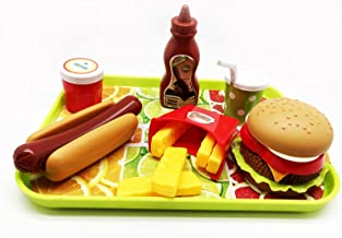 GiftExpress Burger & Hot Dog Fast Food Cooking Play Set for Kids with Hamburger, Fries, Hot Dog, Coke, Ketchup, Milk, Sauc...