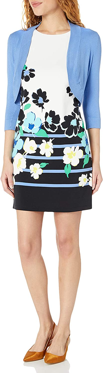 Jessica Howard Women's Floral Shift Dress with Matching Sweater