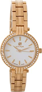 Nina Rose Luxurious and Distinctive Casual Analogue Watch for Women, Gold-White Dial