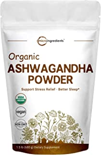 Pure Organic Ashwagandha Root Powder,1.5 Pound (24 Ounce), Adaptogenic Ayurvedic Herbal Supplements for Stress Relief and Mood Balancing, Premium Ashwagandha Organic Powder, Vegan Friendly