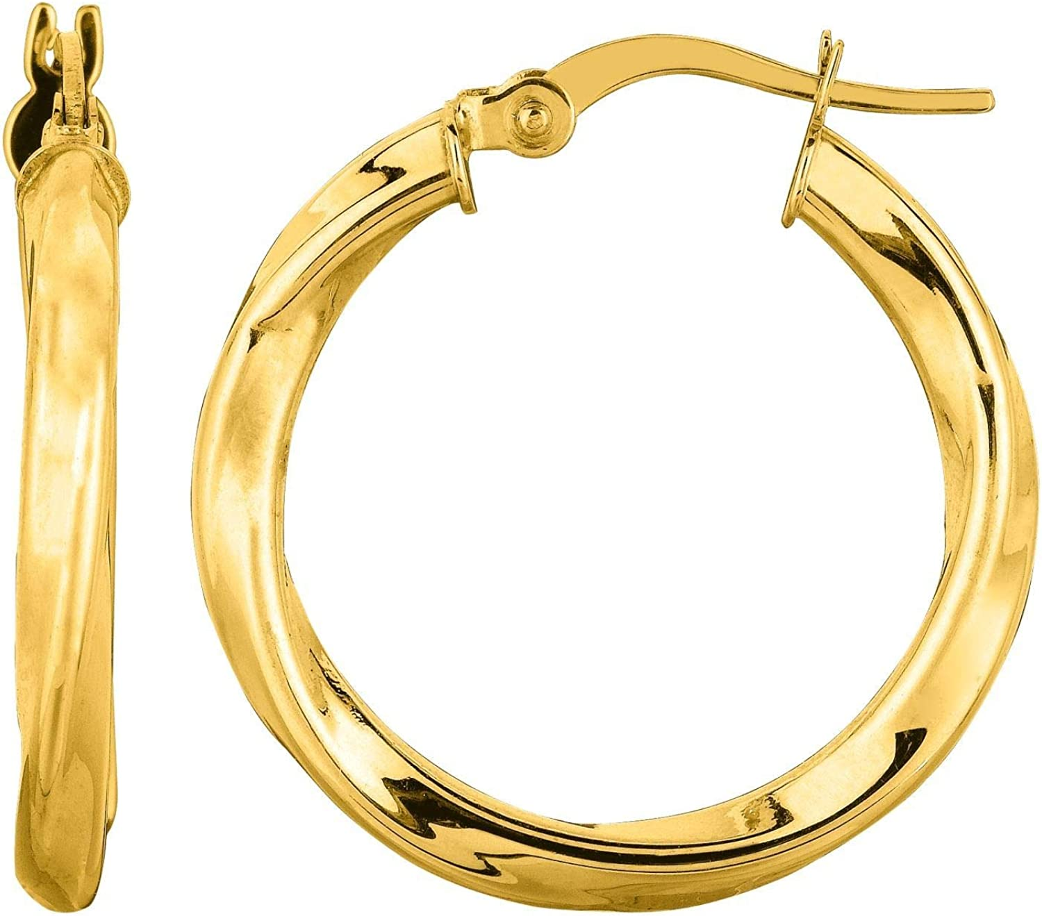 14K Yellow Gold 3.0X20mm Shiny Round Tube Italian Twists Hoop Earring with Hinged Clasp