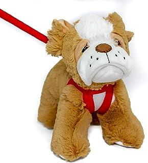 FunStuff Stuffed Animal Plush Toy- Bulldog Brown Dog on a Retractable and Removable Leash