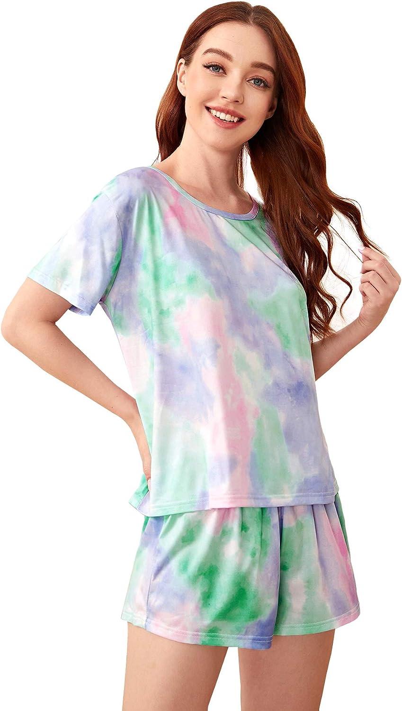 SweatyRocks Women's Pajama Set Short Sleeve Tee and Striped Shorts Sleepwear Pj Sets