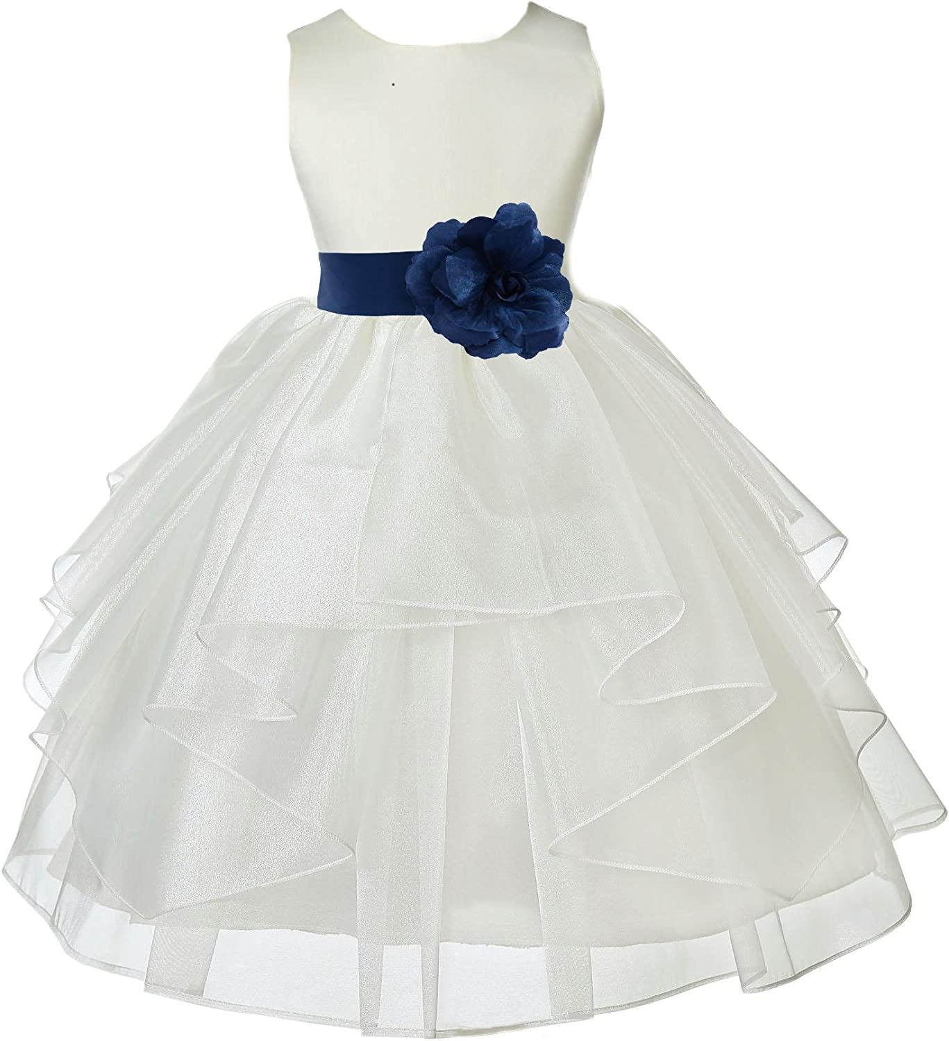 Wedding Pageant Ivory Shimmering Organza Flower Girl Dress with Tiebow 4613T