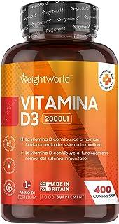 Vitamine D tabletten - 2000 IE vitamine D3-400 vegan tabletten voor meer dan 1 jaar - Ondersteunt immuunsysteem, botten en...